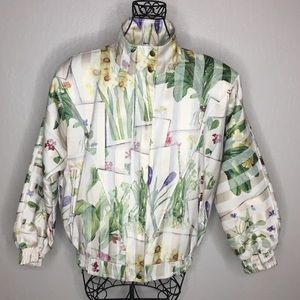 Ribbons floral bomber jacket made in Canada EUC